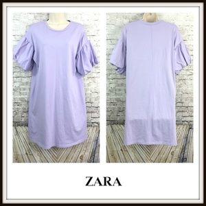 Zara Dresses - Zara Lilac Puff Sleeve T-Shirt Oversized Dress